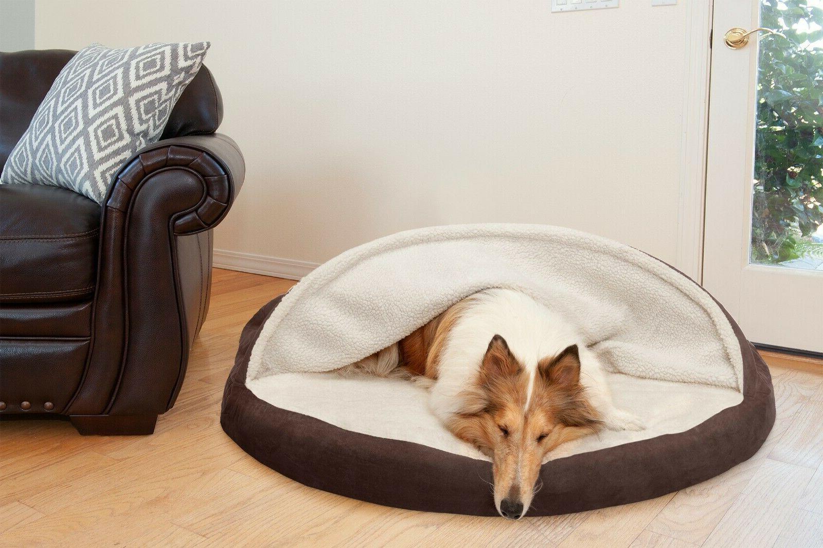 FurHaven Faux Sheepskin Snuggery Orthopedic Dog Cave Bed Pet