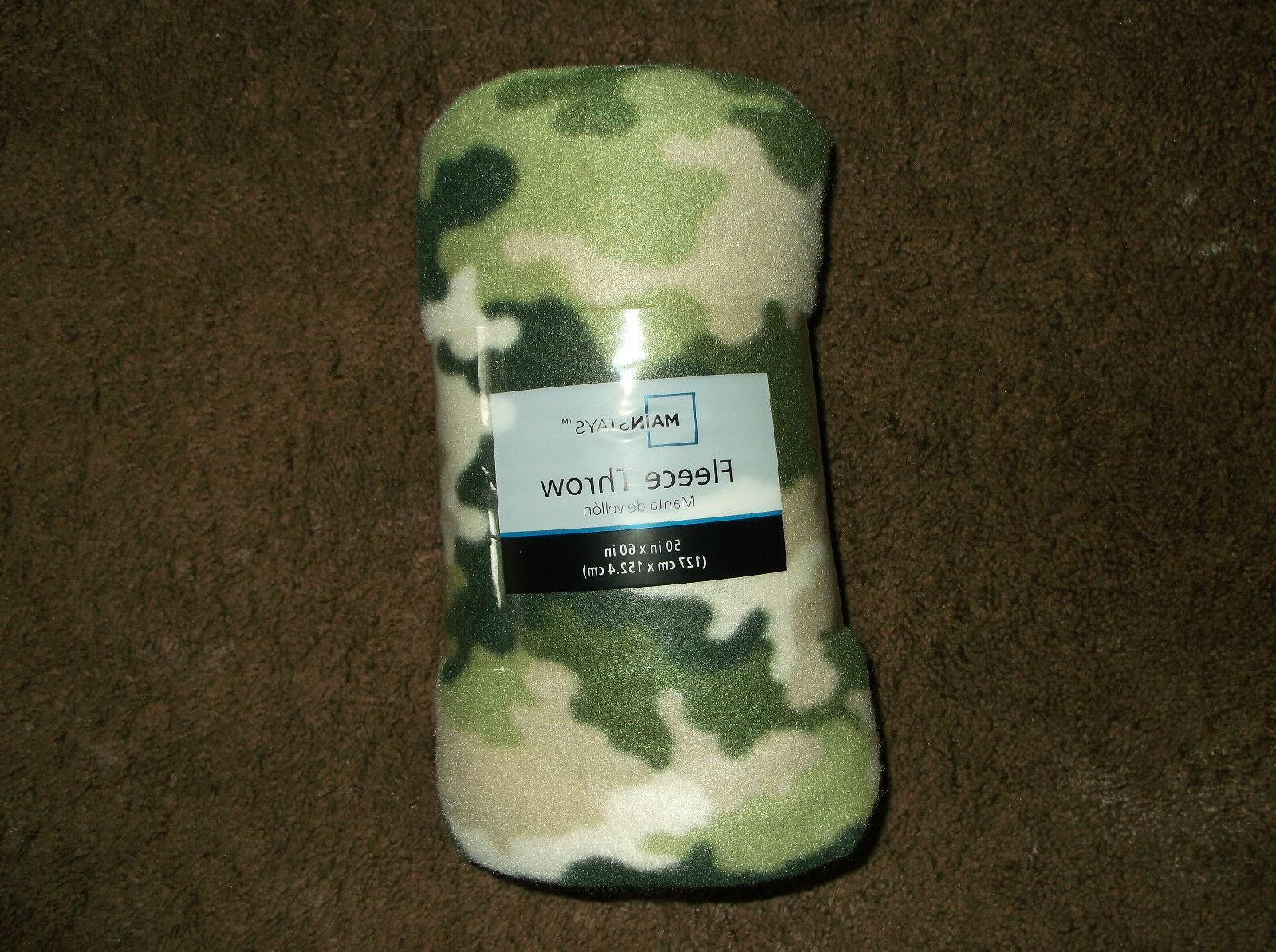 "Fleece Blanket, Green Camouflage Blanket, 50"" x 60"", All P"