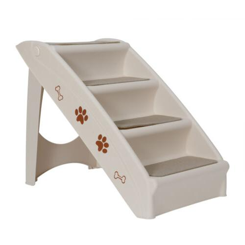 Foldable Pet Stairs 4 Non-slip Steps Dog Ladder w/ Support F