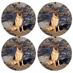 German shepherd dog Rubber Round Coaster set  Great Gift Ide