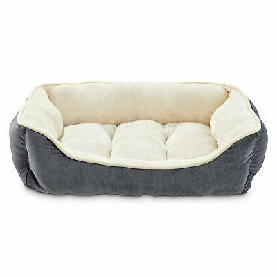 gray bolster dog bed