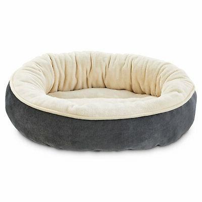 gray circle bolster dog bed