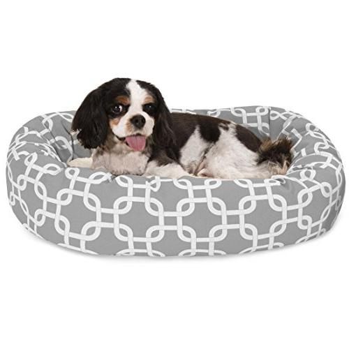 24 Inch Gray Links Sherpa Bagel Dog Bed