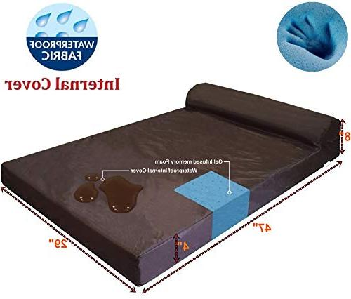 "Dogbed4less Premium Rest Orthopedic Memory Bed, Waterproof and Cover 47""X29""X4"","