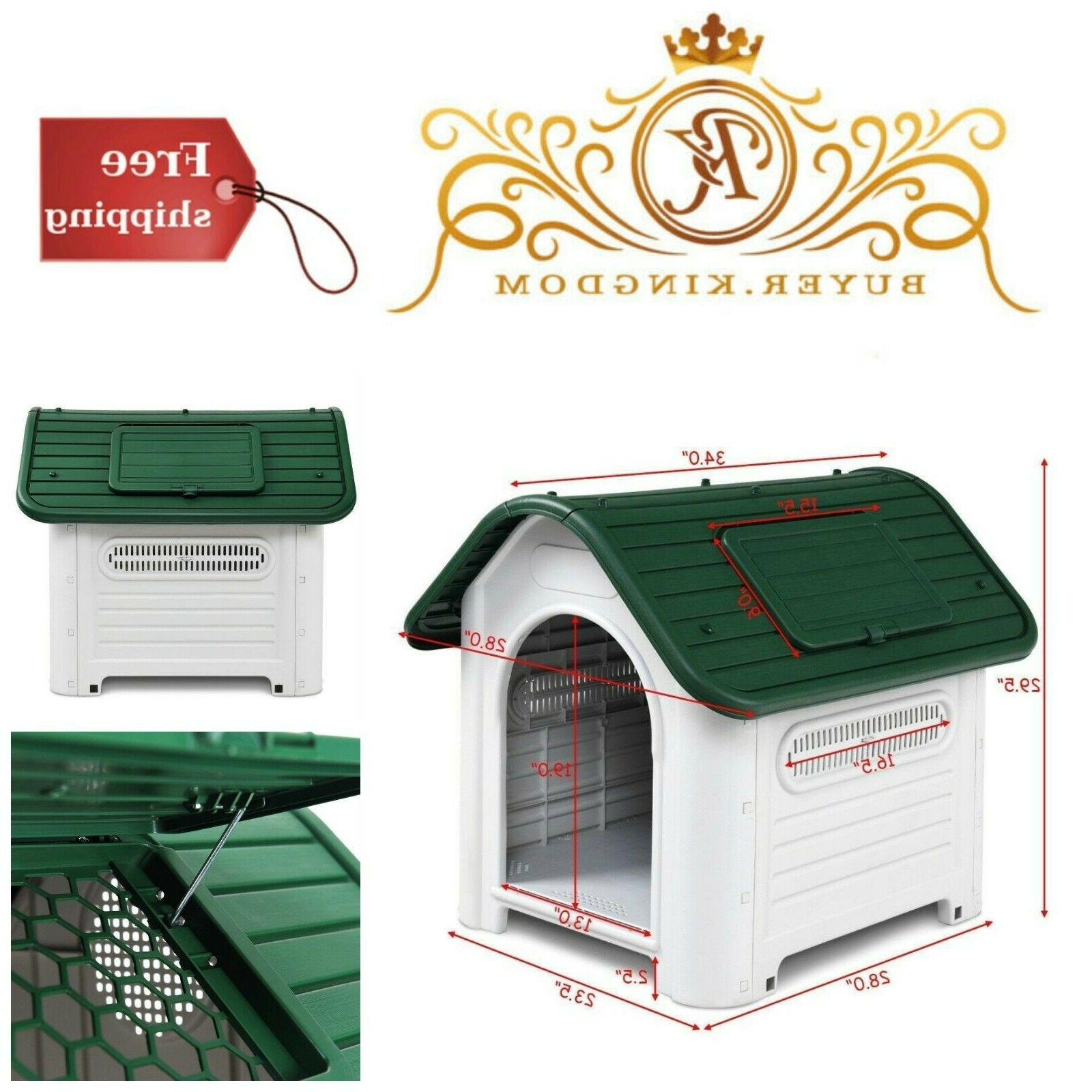 Indoor Outdoor Plastic Dog Houses Carry Skylight Pets Kennel