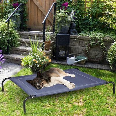 Large Dog Cat Elevated Cot Indoor Outdoor Steel Mat
