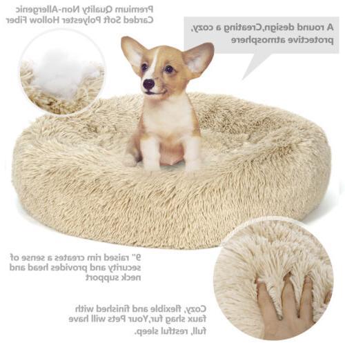 Large Shaggy Fluffy Pet Bed Dog Cat Donut Cuddler Cushion Ma