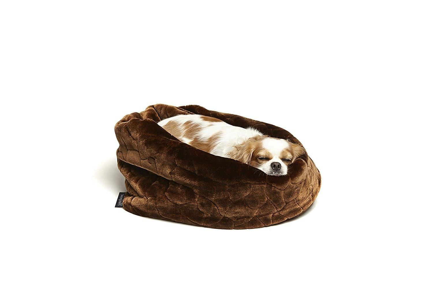 Mariposa Taza Pocket Style Dog Bed SMALL BROWN Faux Fur NEW
