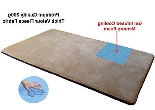 Dogbed4less Memory Foam Velour Fleece Bed Pillow with Bottom Crate Size