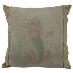 Kate McRostie Mermaid Hideaway 16 Inch Linen Throw Pillow