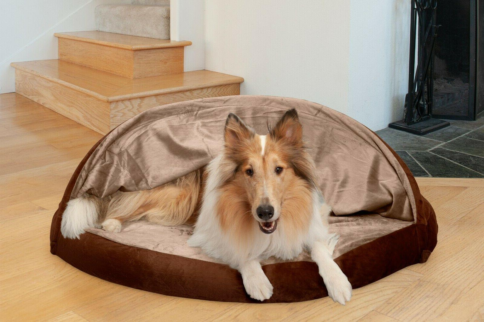 microvelvet snuggery orthopedic dog cave bed pet