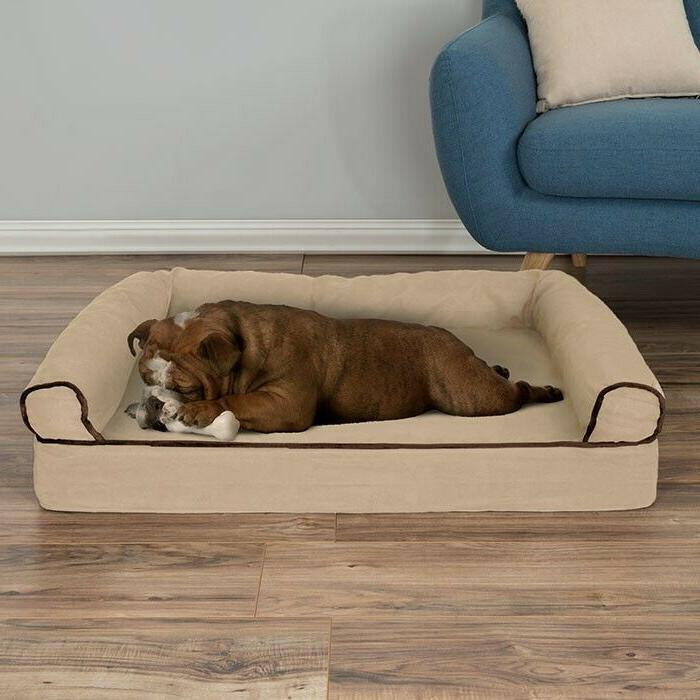 Orthopedic Dog Bed with Comfy Bolster Small Medium Dogs Unde