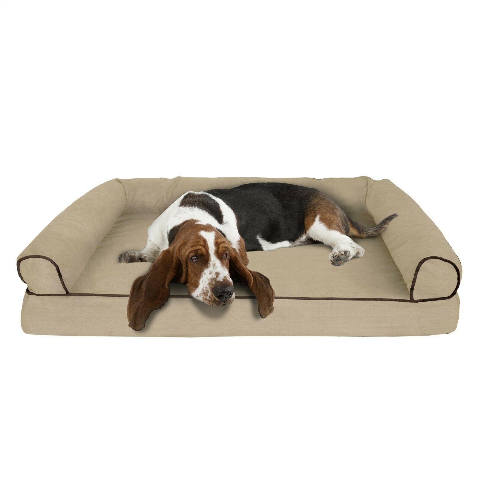 orthopedic dog bed with comfy bolster large
