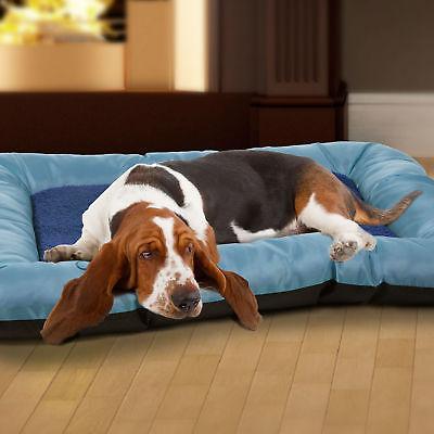 PAW Plush Cozy Pet Crate Dog Pet Bed - Blue - Medium
