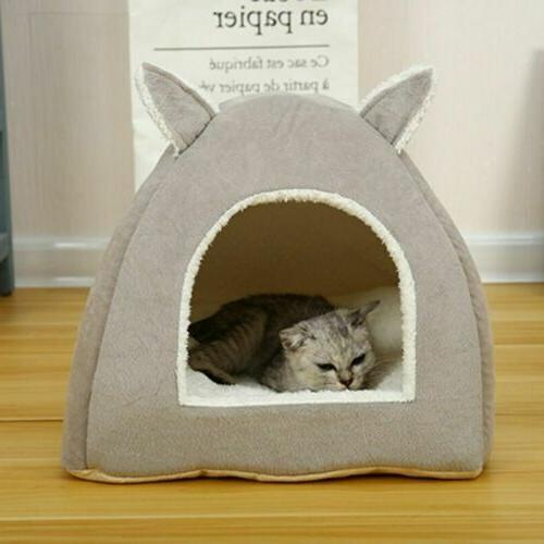 Pet Cat Nest Sleeping Cushion Cave Warm Kennel House