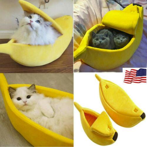 Pet Cat Banana Shape House Warm Soft Sleep Fleece Bed