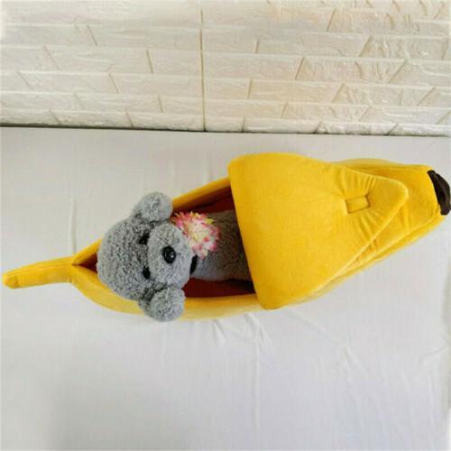 Pet Dog Cat Bed Banana House Warm Plush Fleece Bed Nest