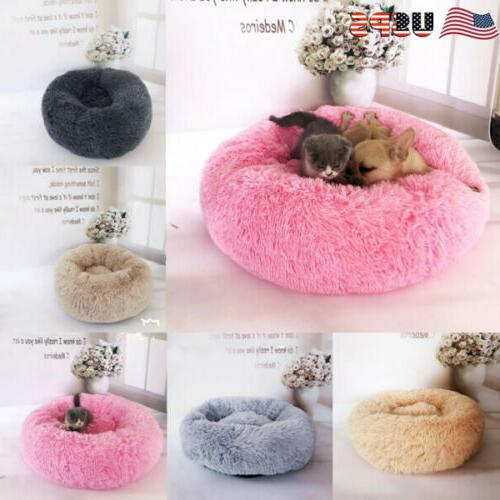 Pet Dog Cat Calming Bed Round Nest Warm Soft Plush Comfortab