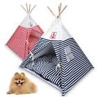 New Pet Kennel Navy Striped Teepee Tent Cat Dog Bed Puppy Ki