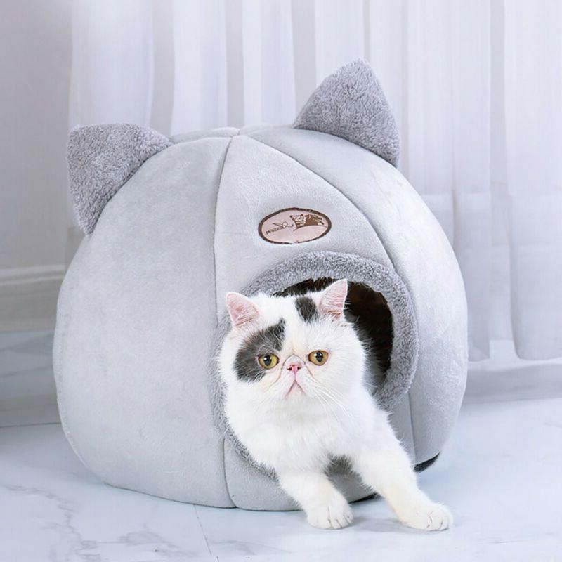 Pet Bed Sleeping Cushion Cave Warm Basket