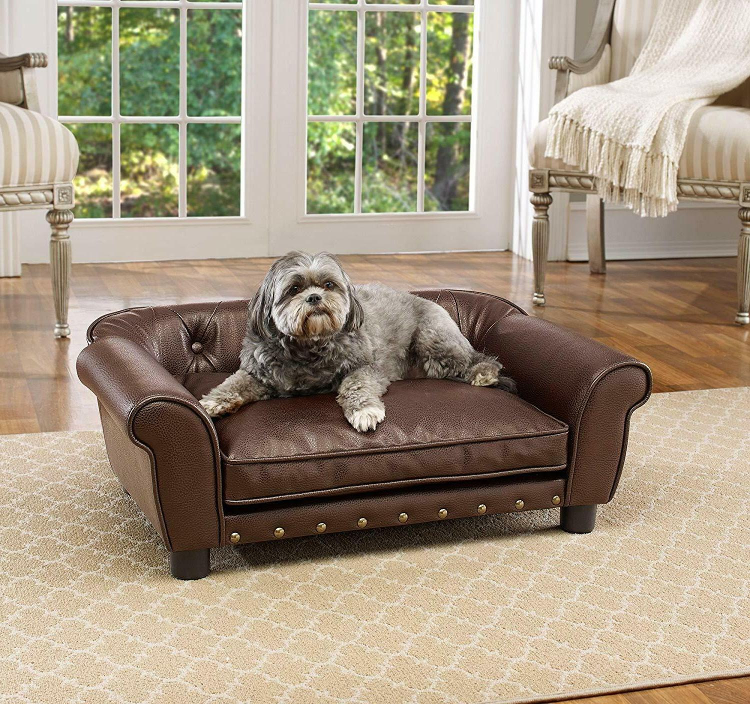 Fancy Dog Bed Raised Medium Tufted Pet Sofa Couch Faux Leath