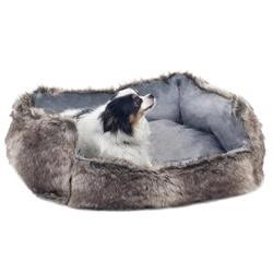 PetMaker Small Faux Fur Mink Gray Wolf Dog Bed with Insert P
