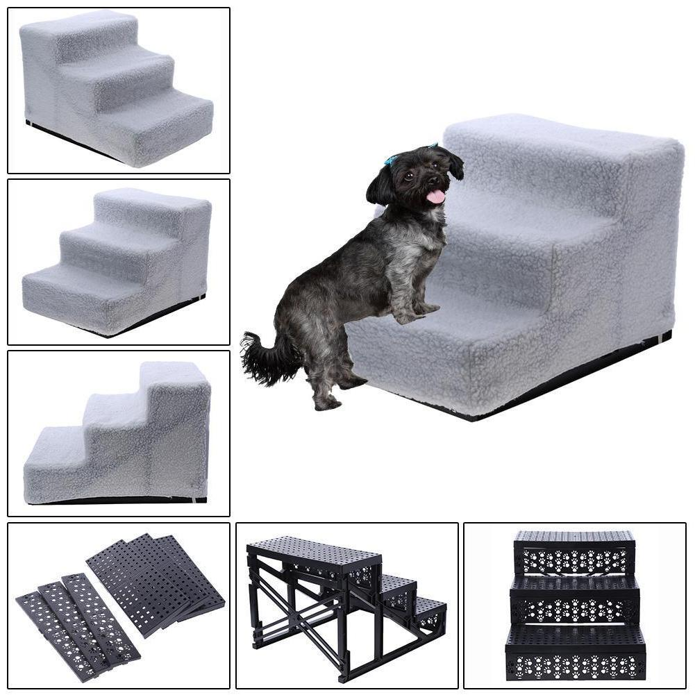 Portable 3 Steps Dog Stairs for Bed Pet Cat Ramp Ladder with