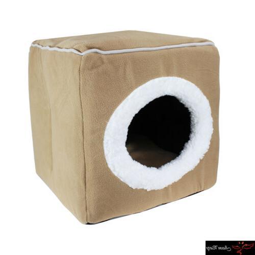 Premium Pet Dog Cat Bed House Portable Cube Cave Nest Igloo