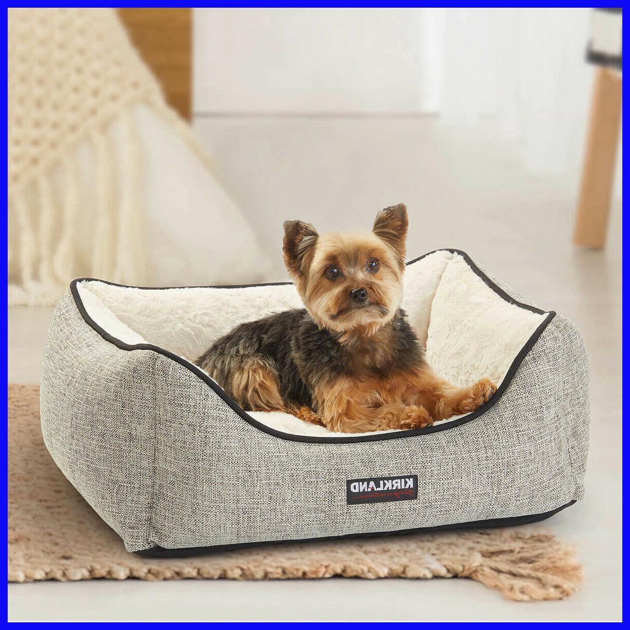 rectangular cuddler dog bed pet grey