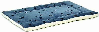 reversible paw print pet bed blue white