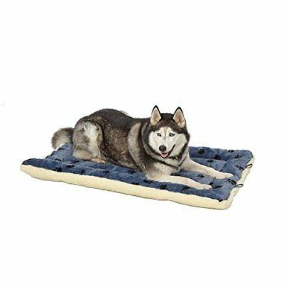 Reversible Paw Print Pet Bed / White, 45.2L 28W 3.8