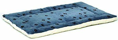 reversible paw print pet bed in blue