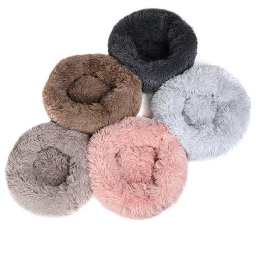 round plush donut pet dog cat bed