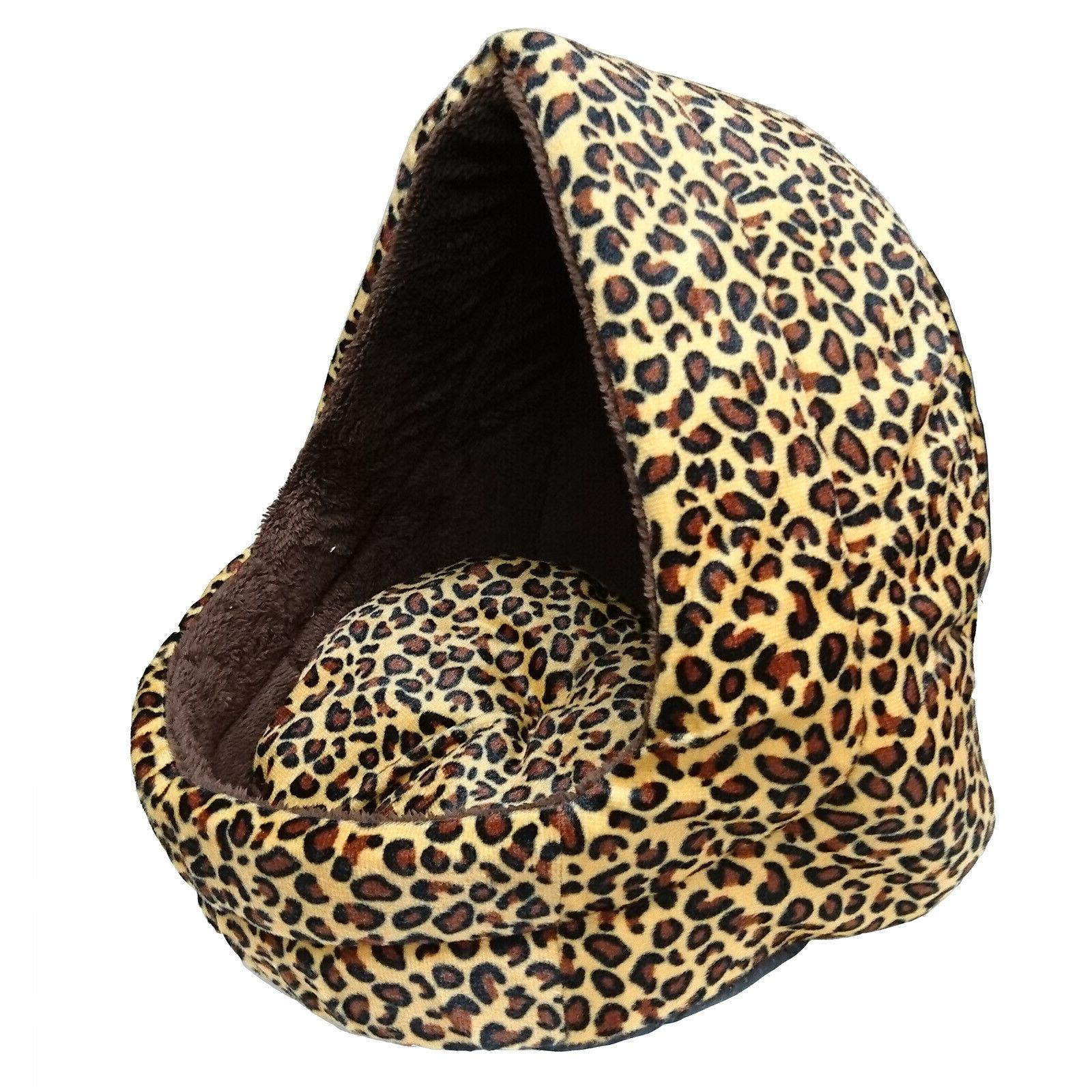 Soft Leopard Pet Dog Cat Bed House Kennel Doggy Puppy Warm B