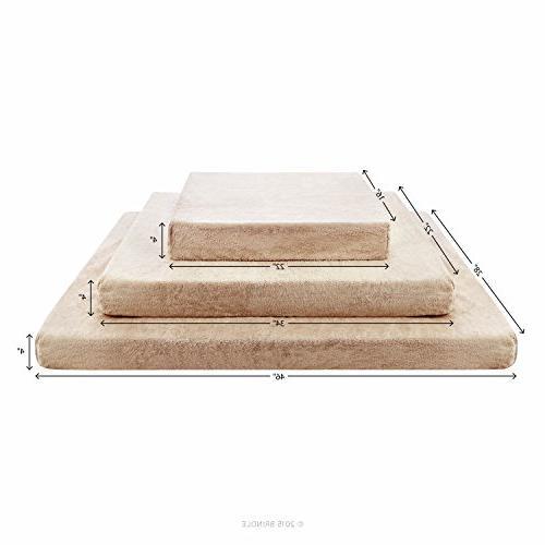 Brindle Memory Foam Orthopedic Dog Bed - with Waterproof Medium Khaki Inch x 22