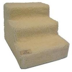 Pet Stairs in White Lambswool - Number of Steps: 5-Steps