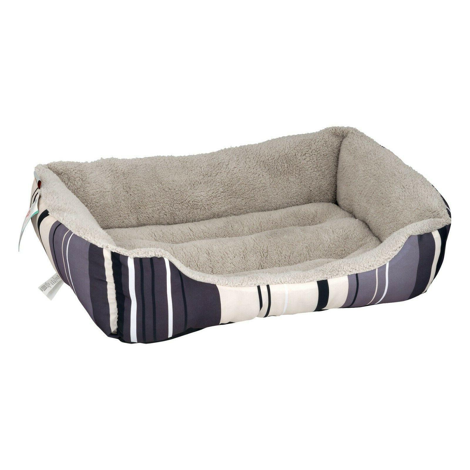 ASPCA Striped Cuddler & Bed, Medium, Gray