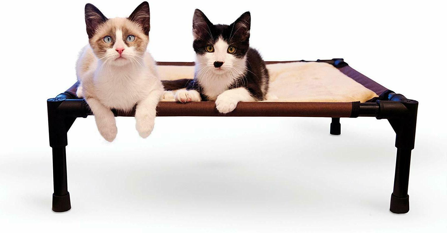 Super Elevated Bed for Cats Small Chocolate Tan Pillowtop