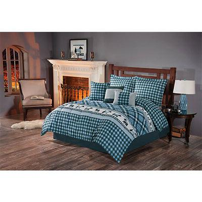 Twin Full Queen King Bed Blue Black Plaid Winter Dogs Puppie