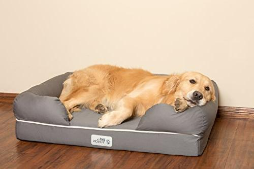 """PetFusion Dog Bed w/Solid 4"""" Foam, Waterproof liner, YKK premium zippers. Breathable cotton blend, & to clean"""