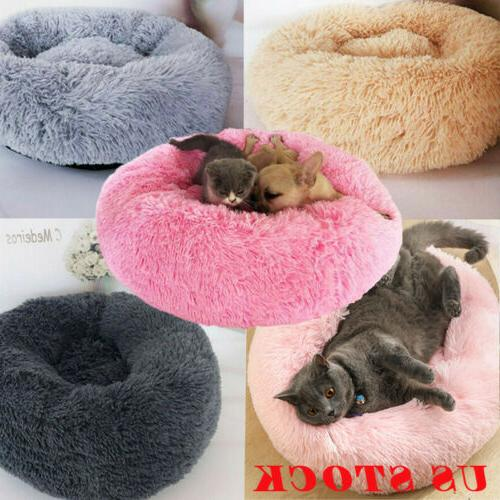 us fur donut cuddler pet calming bed