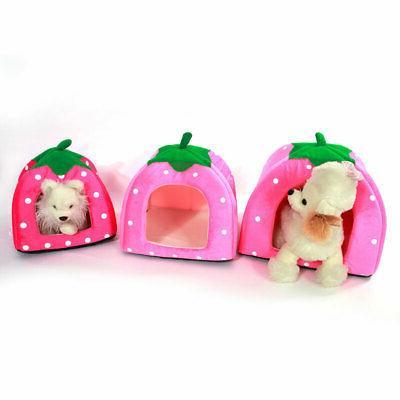 Warm Strawberry Dog House Kennel Puppy Basket Pad