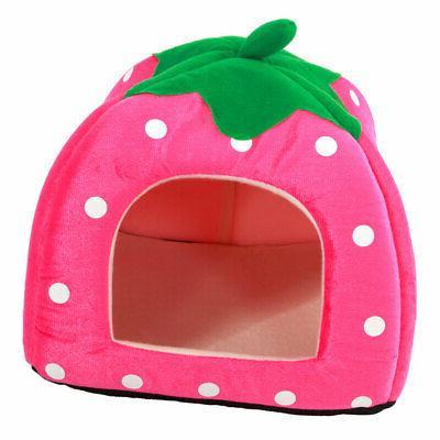 Warm Strawberry Dog Cat Kennel Cushion Basket Pad