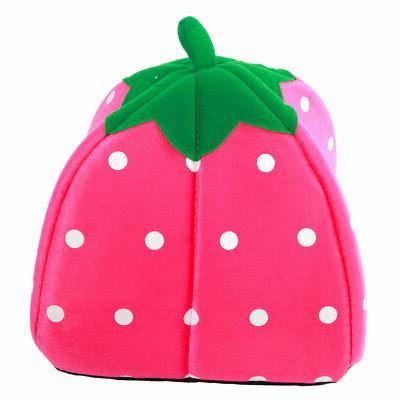 Warm Soft Strawberry Dog Kennel Doggy Puppy Basket Pad