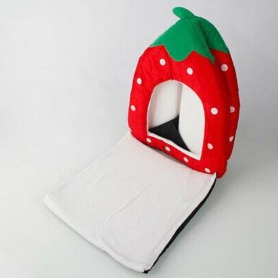 Warm Soft Strawberry Pet Dog Bed House Kennel Doggy Puppy Cushion Basket
