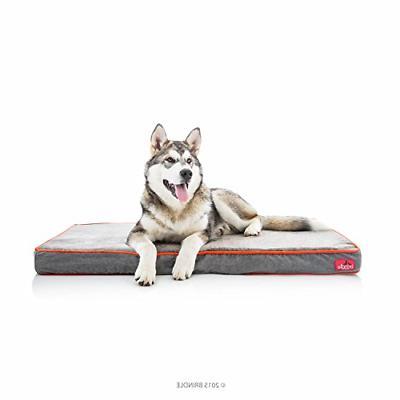 Brindle Waterproof Designer Memory Foam Pet Bed - Charcoal V