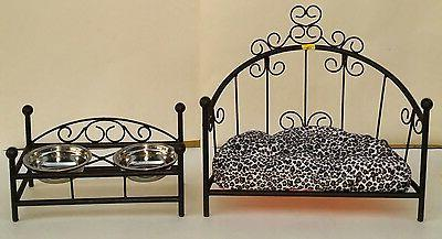 Custom-made Wrought Iron Dog/Cat Pet Bed & Feeder