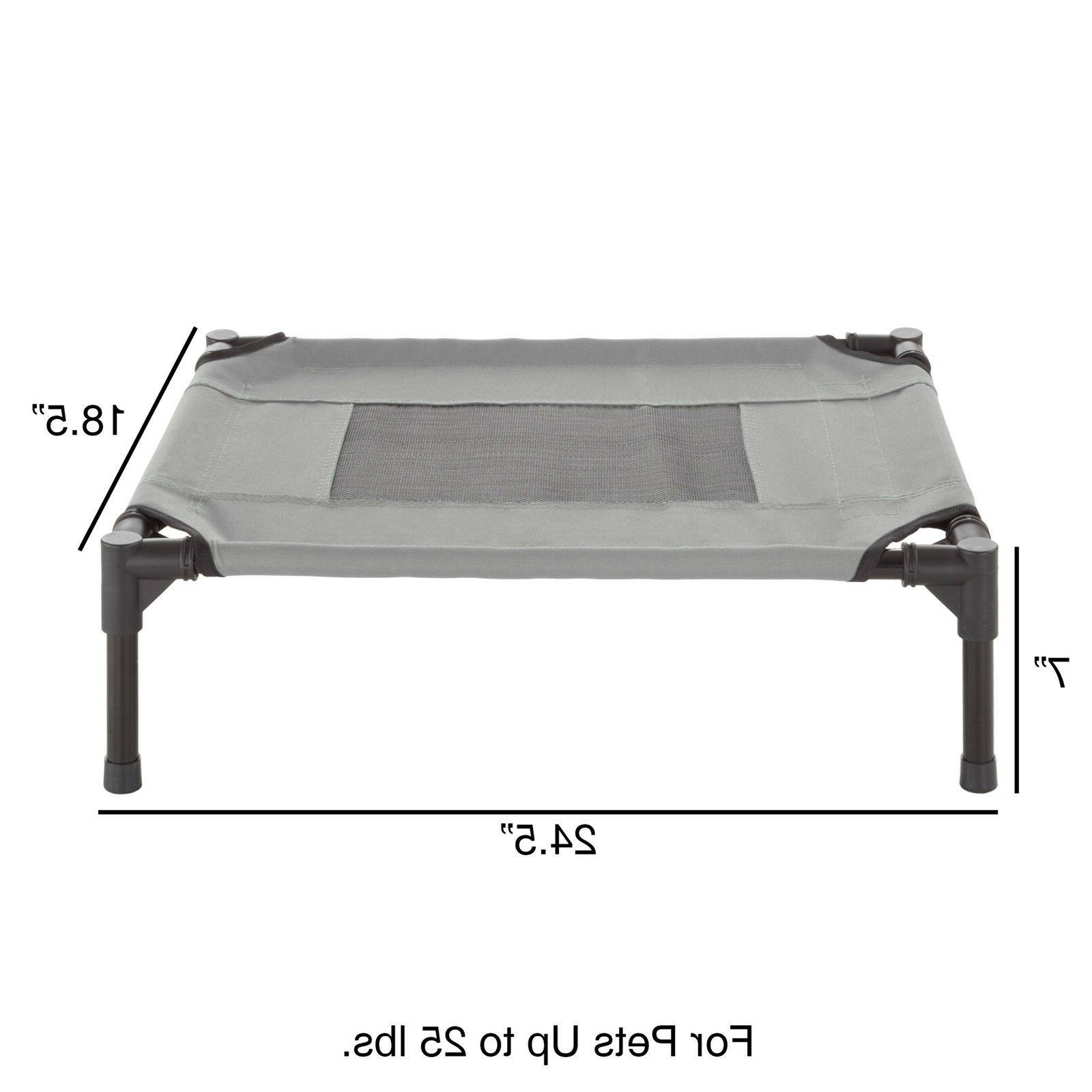 XSmall Dog Cat Bed Indoor Outdoor Elevated Cot 24 x 18 Inch Gray