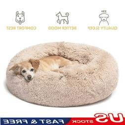 Large Shaggy Fluffy Pet Bed Dog Cat Donut Cuddler Cushion Ma
