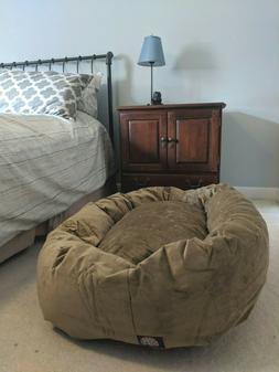 Majestic Pet Large TAN SUEDE BAGEL DOG BED Soft Nesting Mach